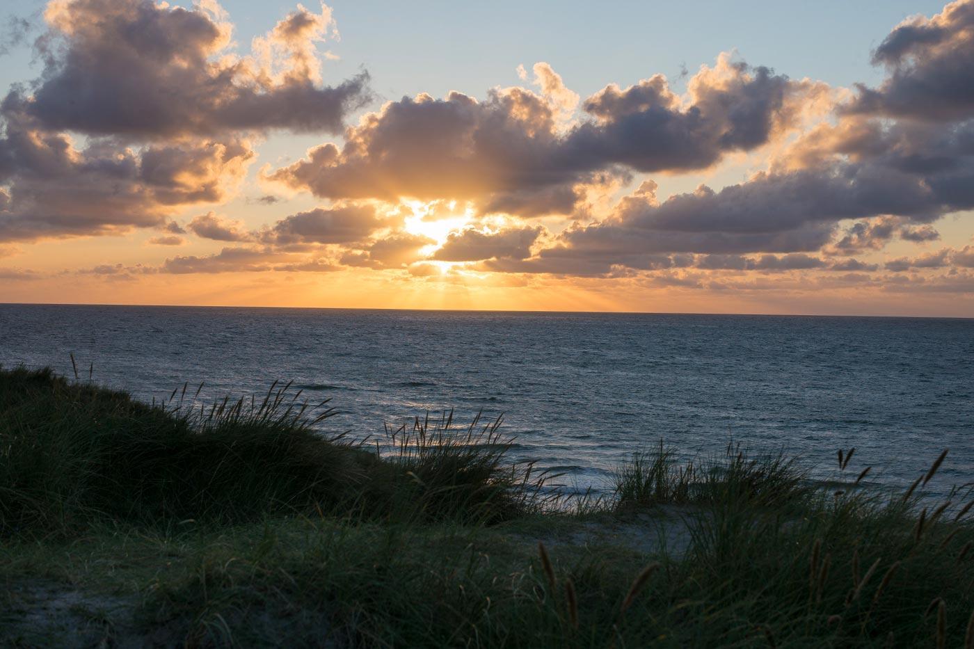 Sonnenuntergang auf Sylt am Weststrand.
