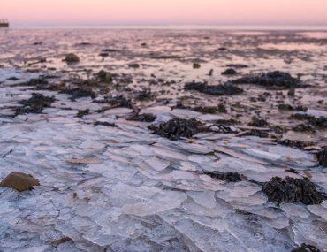 Silvester auf Sylt gefrorenes Wattenmeer
