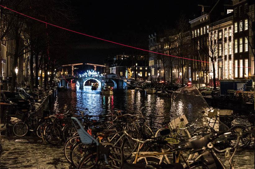 Amsterdam im Winter Gracht und Light Festival