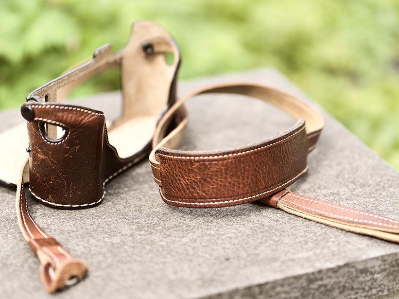 Kamera Zubehör Strap und Case in Leder
