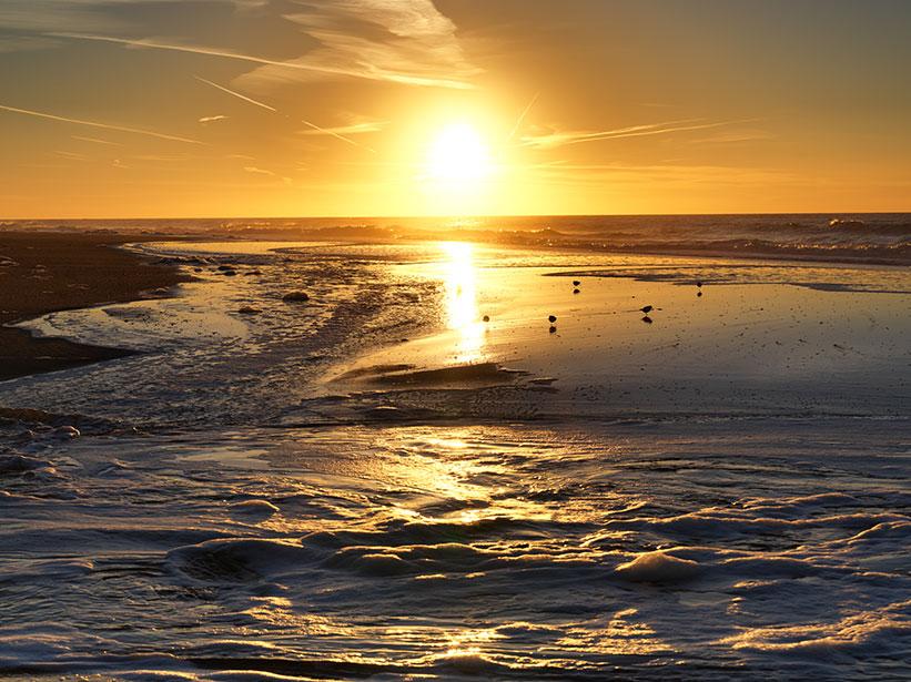 Sonnenuntergang Sylt mit Hasselblad Kamera fotografiert.