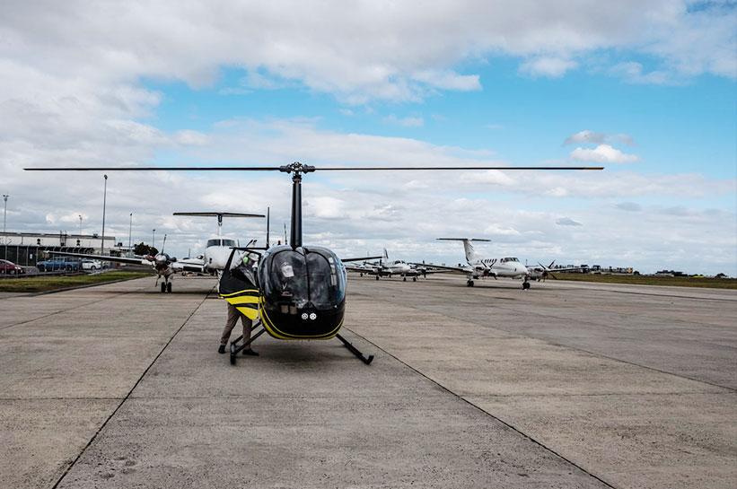 Helikopter R44 Essedon Flughafen Melbourne Australien