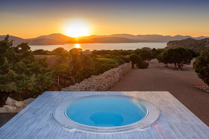 Sonnenuntergang auf der Balearen Privatinsel