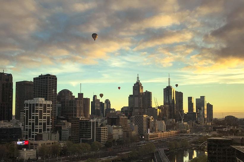 Melbourne Blick aus dem zimmer des 5 Sterne Hotel Crown Towers