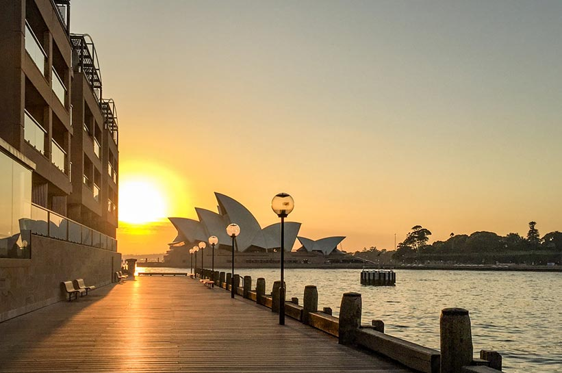 Sonnenuntergang Sydney am Hyatt Luxushotel