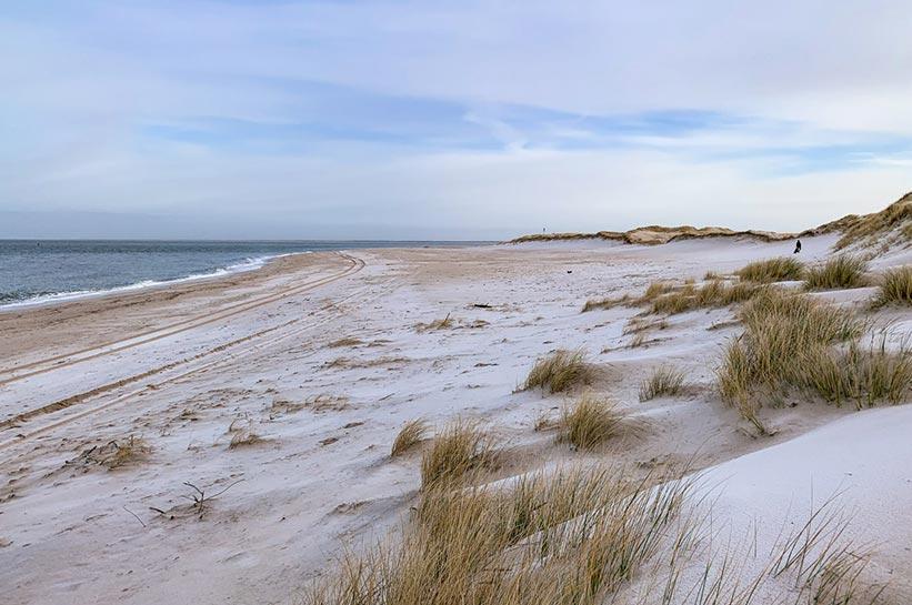 Ellenbogen Sylt Strand mit Schnee