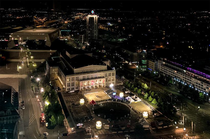 Blick auf Leipzig bei Nacht