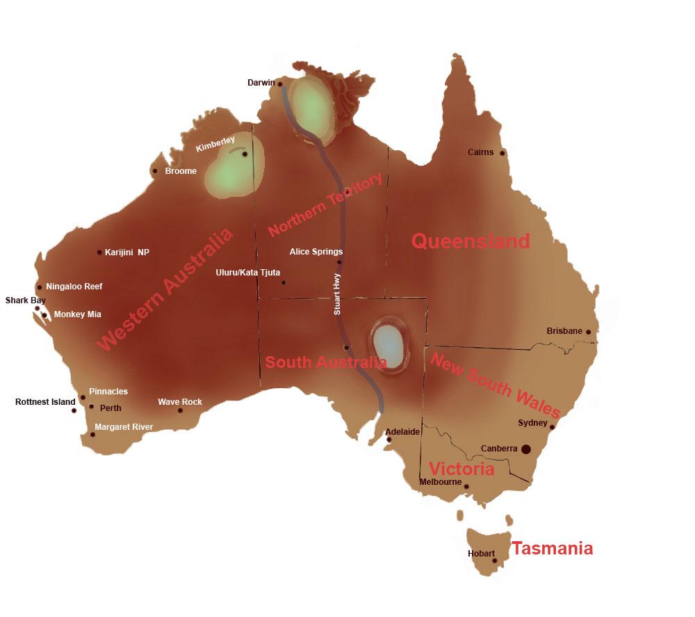 Westaustralien Karte mit Highlights