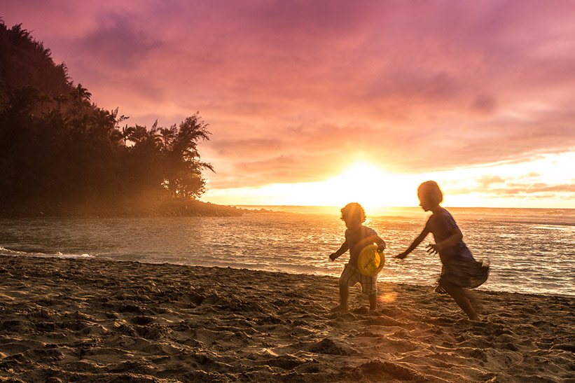 Sonnenuntergang Hawaii mit Kindern