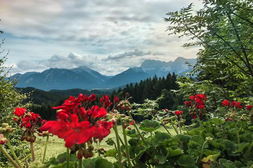 Blick auf die Berge Zugspitze Karwendel Gebirge