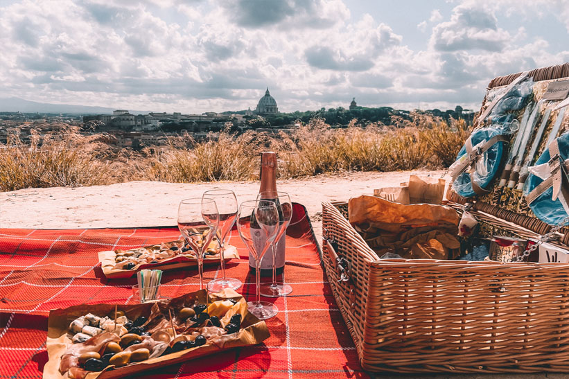 Picknick in Rom mit Aussicht
