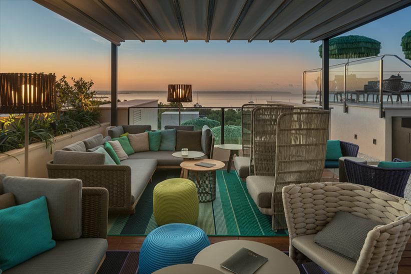 Dachterrasse mit Blick auf Bucht El Llorenc Hotel Palma